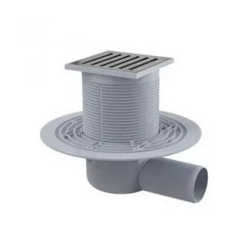 Сливной трап 105x105/50мм с бок. подвод. металл. Alca Plast