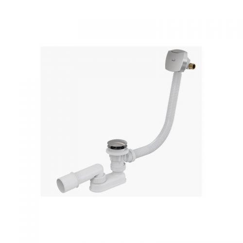 Сифон для ванны click-clack с напуском воды через перелив пластик/металл Alca Plast