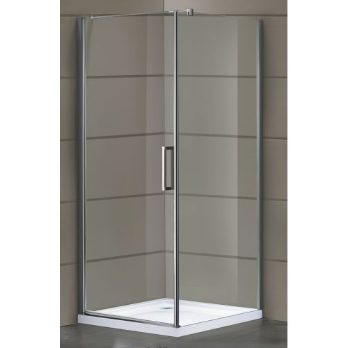 RUDAS душевая кабина квадратная 90*90*200, профиль хром, стекло прозрачное 8 мм (стекла+двери)