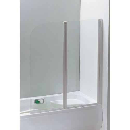 Шторка на ванну 120*138, профиль белый, стекло прозрачное 5 мм