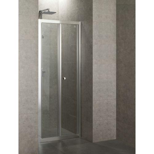 Дверь bifold 80*185, профиль хром, стекло прозрачное 5 мм