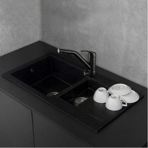 Кухонная мойка Fancy Marble Alabama светло черный