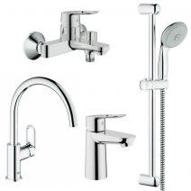 Набор смесителей для ванны Grohe BauLoop 123225 (рак.23337+ван.32815+кух.31368+темп.27598)
