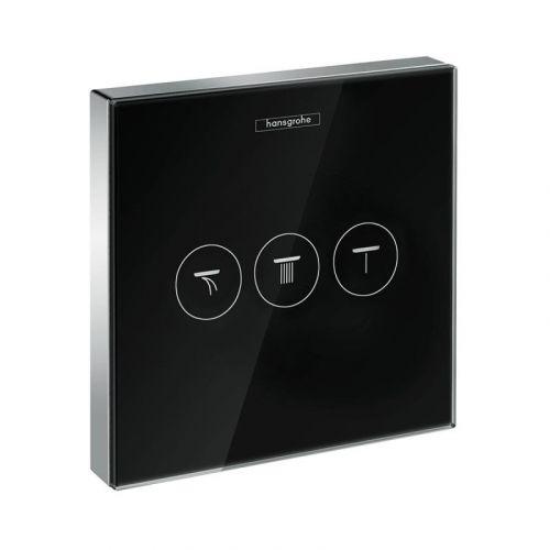 Модуль с тремя запорными клапанами Hansgrohe ShowerSelect , стеклянный, черный/хром