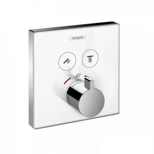 Термостат для двух потребителей Hansgrohe ShowerSelect, стеклянный, СМ белый/хром