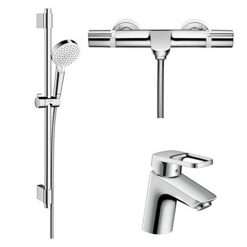 Набор для ванны Hansgrohe Logis Loop: Смеситель на умывальник+Versostat 2 Термостат+Crometta Vario Душевой набор