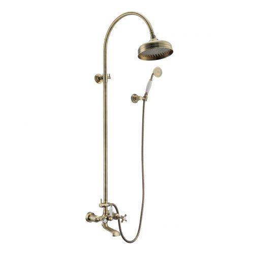 Душевая система Imprese Cuthna antiqua(двухвентильный смеситель для ванны, верхний и ручной душ), бронза