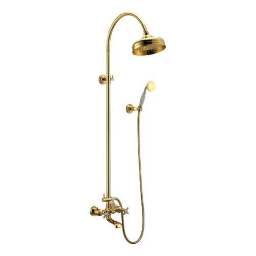 Imprese CUTHNA zlato система душевая (двухвентильный смеситель для ванны, верхний и ручной душ), золото