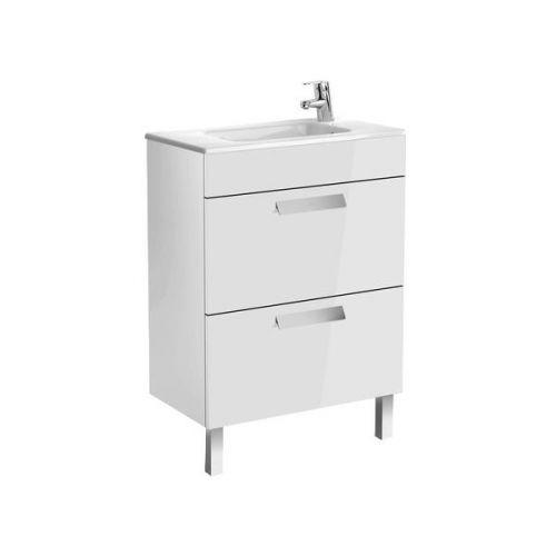 Шкафчик 60 см Roca DEBBA + умывальник, в комплекте с сифоном, с 2-мя ящиками, белый глянец