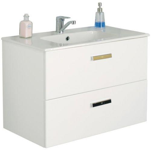 Шкафчик 80 см Roca DEBBA + умывальник, в комплекте с сифоном, с 2-мя ящиками, белый глянец