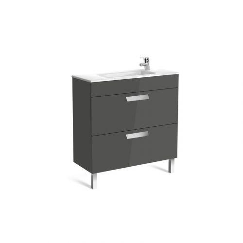 Шкафчик 80 см Roca DEBBA + умывальник, в комплекте с сифоном, с 2-мя ящиками, серый антрацит