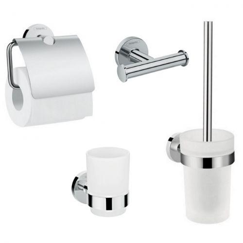 Набор аксессуаров Hansgrohe Logis: крючок двойной, держатель туалетной бумаги, стакан, туалетная щётка