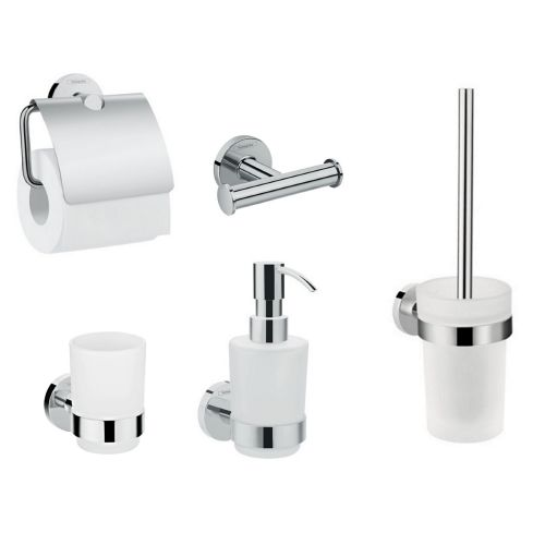 Набор аксессуаров Hansgrohe Logis: крючок двойной, диспенсер, держатель туалетной бумаги, стакан, туалетная щётка