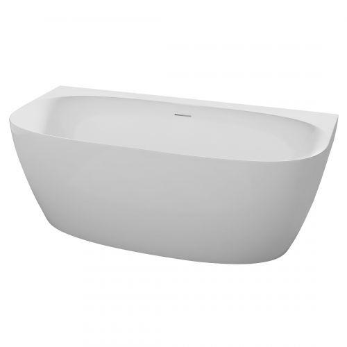 Ванна отдельно стоящая пристенная 1700*800*585 мм, матовая акриловая, с сифоном