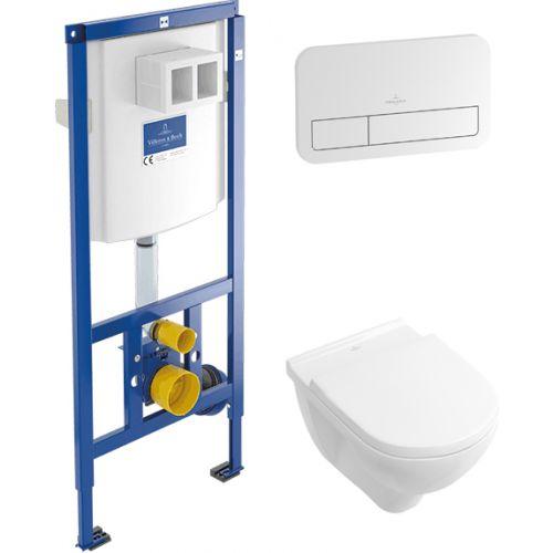 Villeroy & Boch O.NOVO комплект: унитаз подвесной с верт. смывом, без ободка,сиденье Soft Closing, инсталляция, кнопка смыва белая