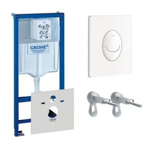 Комплект подвесной унитаз Roca Gap Clean Rim+инсталляция Grohe Rapid+овальная кнопка белая 38722001