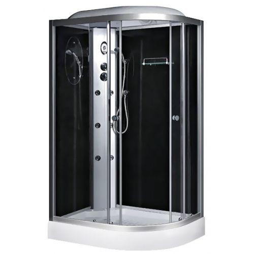 Гидробокс Fabio c электроникой, 120 х 80 см, профиль сатин, стекло серое, заднее стекло черное левый/правый