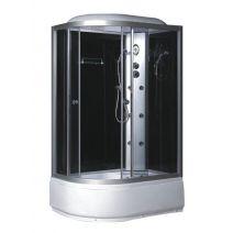 Гидробокс Fabio c электроникой, 120 х 80 см, глубокий поддон, сатин, стекло серое, заднее стекло черное левый/правый
