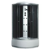 Гидробокс Fabio c электроникой, 90 х 90 см, профиль сатин, стекло серое, заднее стекло черное